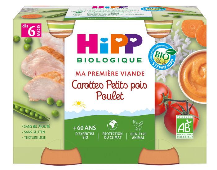HIPP Ma Première Viande -  2 x 190 g Carottes - Petits Pois - Poulet - 6M