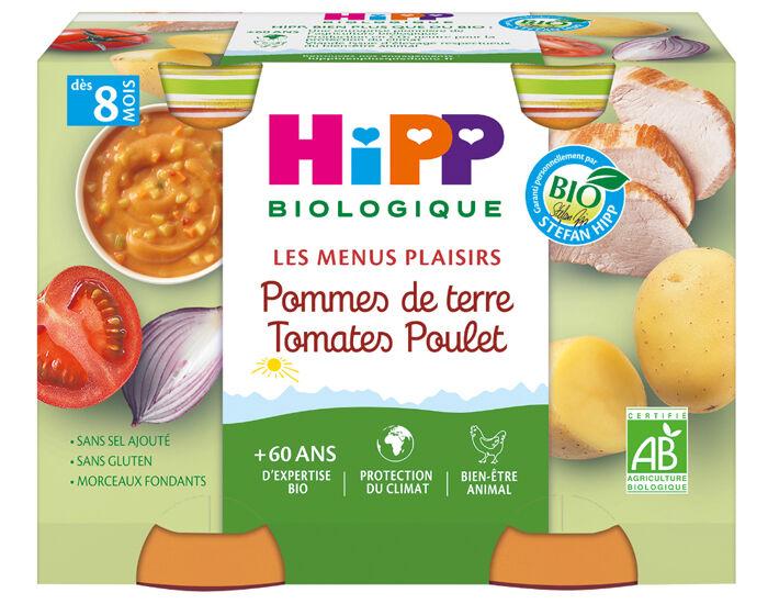 HIPP Les Menus Plaisirs - 2 x 190g Pommes de terre - Tomates - Poulet - 8M