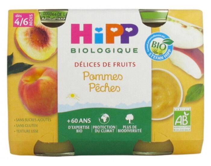 HIPP Délices de Fruits - 2 x 190g Pommes - Pêches - 4 M