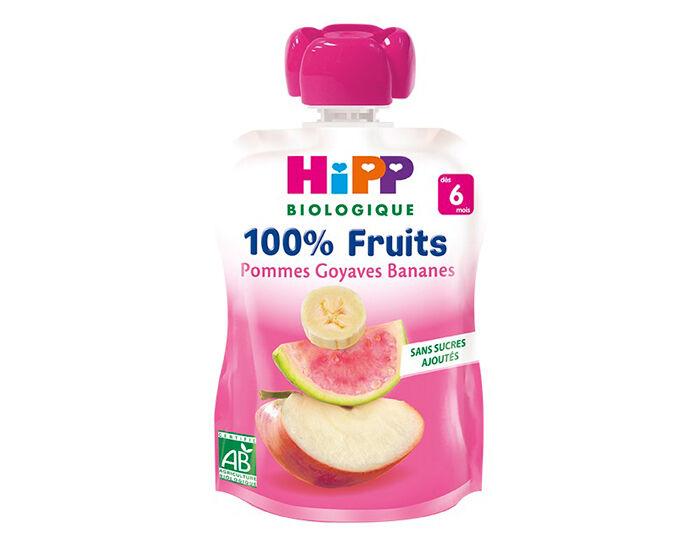 HIPP Gourde 100% Fruits - Dès 6 Mois - 90g Pomme Goyave Banane