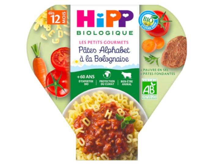 HIPP Les Pré-Maternelles Pâtes - 230g - Dès 12 mois Alphabet à la Bolognaise