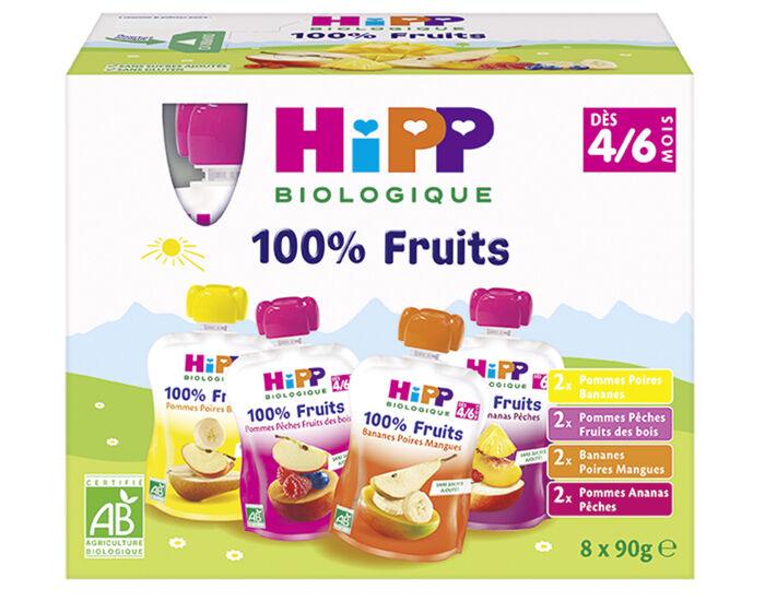 HIPP Gourdes 100% Fruits Multipack 4 Variétés - 8 x 90g - Dès 4-6 mois