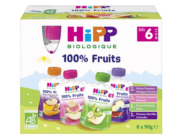 HIPP Gourdes 100% Fruits Multipack 4 Variétés - 8 x 90g - Dès 6 mois