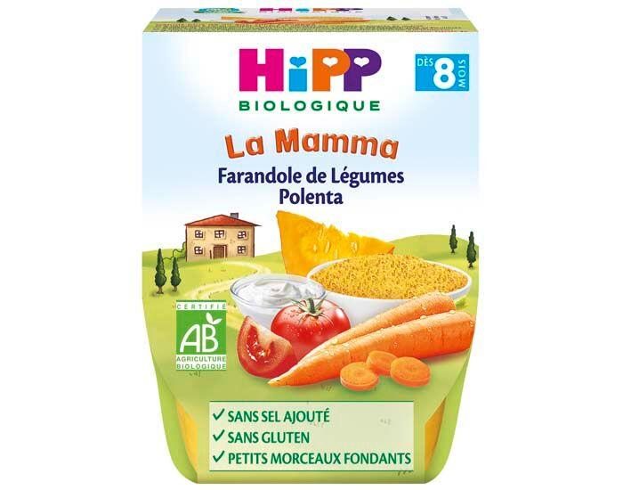 HIPP Bols La Mamma - 2 x 190 g - Dès 8 mois  Farandole de Légumes Polenta - 8M