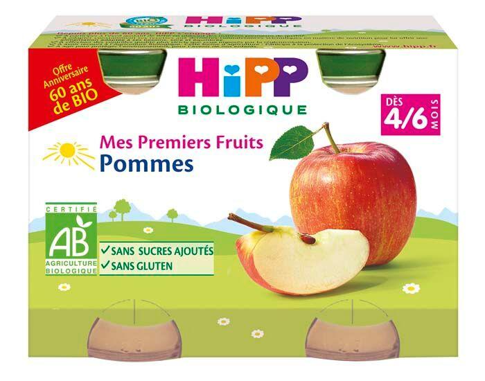 HIPP Mes Premiers Fruits - 2 x 125 g - Dès 4/6 mois Pommes 60 ans de Bio - 4/6 M