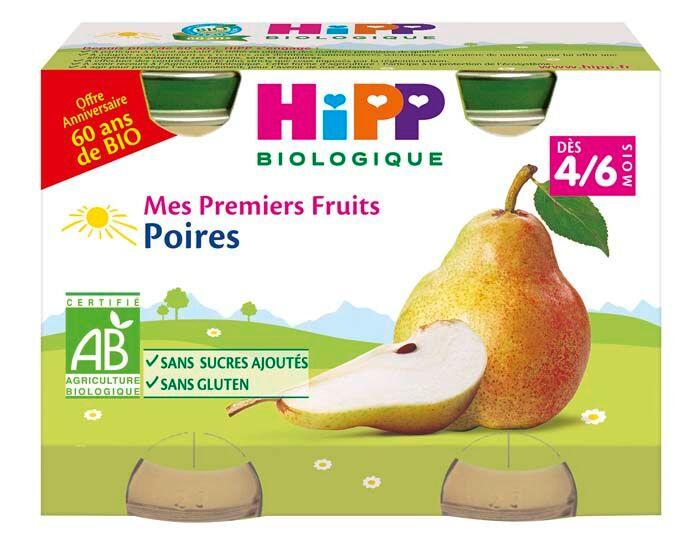 HIPP Mes Premiers Fruits - 2 x 125 g - Dès 4/6 mois Poires 60 ans de Bio - 4/6 M