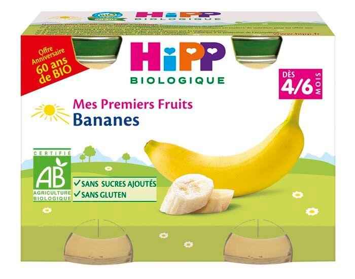 HIPP Mes Premiers Fruits - 2 x 125 g - Dès 4/6 mois Bananes 60 ans de Bio - 4/6 M