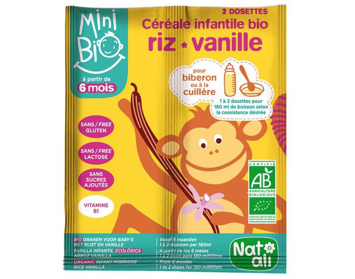 NAT-ALI Mini Bio Céréales Infantiles Riz Vanille - 2 x 8 g