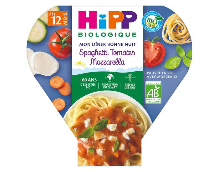 HIPP Assiette Mon Diner Bonne Nuit - 200, 230g ou 260g Spaghetti Tomates Mozzarella - 12M