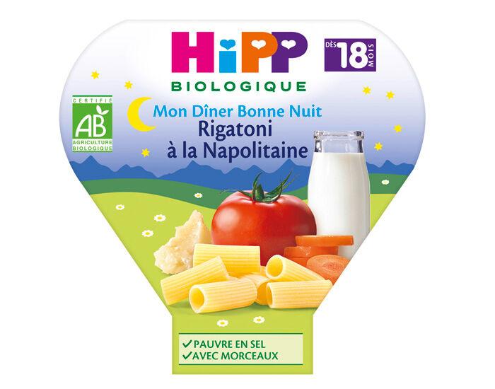 HIPP Assiette Mon Diner Bonne Nuit - 200, 230g ou 260g Rigatoni à la napolitaine - 18M