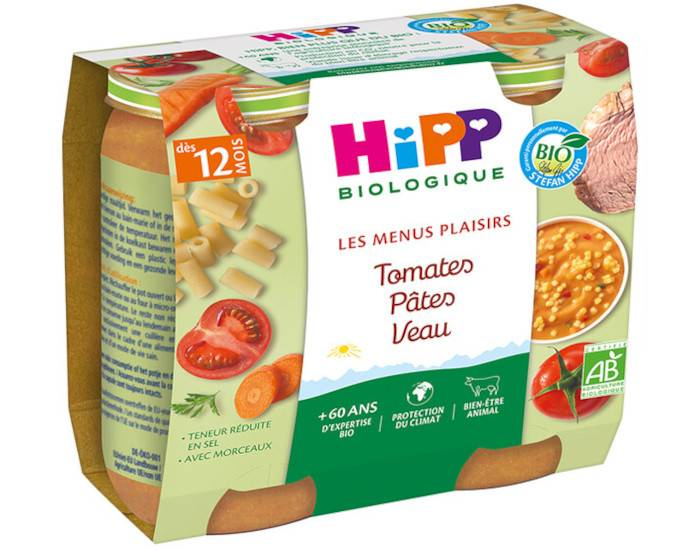HIPP Les Menus Plaisirs - 2 x 250 g Tomates - Pâtes - Veau - 12M