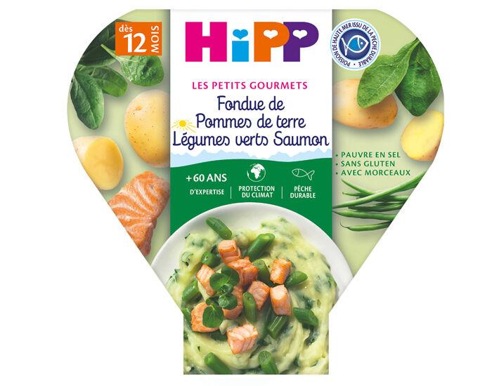 HIPP Assiette - Les Petits Gourmets - 200, 230g ou 260g Fondue d'Épinards Pommes de Terre Saumon - 12M