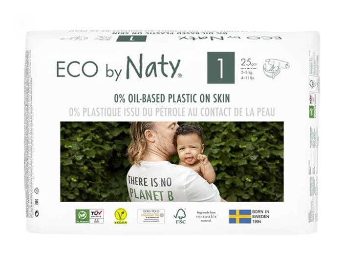 NATY Pack x2 Couches Écologiques Eco by Naty T1 / 2-5 kg / 2 x 25 couches