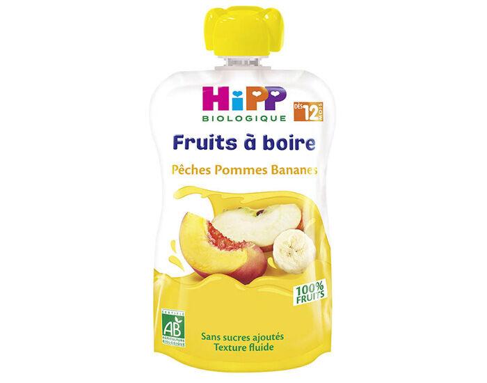 HIPP Gourdes Fruits à Boire - Dès 12 mois Pêches - Pommes - Bananes - 120 ml