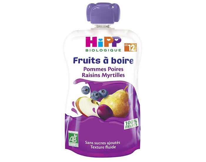 HIPP Gourdes Fruits à Boire - Dès 12 mois Pommes - Poires - Raisins - Myrtilles - 120 ml