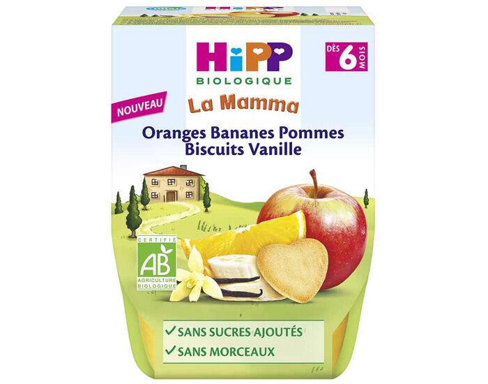 Hipp La Mamma Purée de Fruits et Céréales - Bols 2 x 190 g - Dès 6 mois Oranges Bananes Pommes Biscuits Vanille - 6M