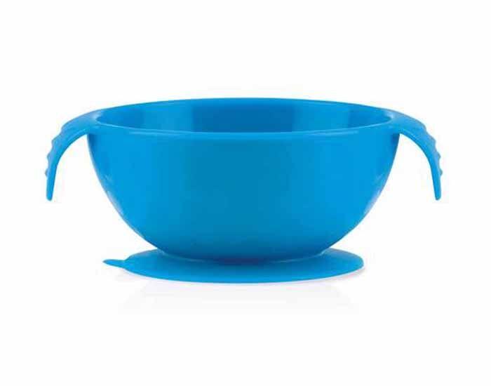 NUBY Bol Ventouse Anti-Dérapant Silicone - Bleu - 330 ml