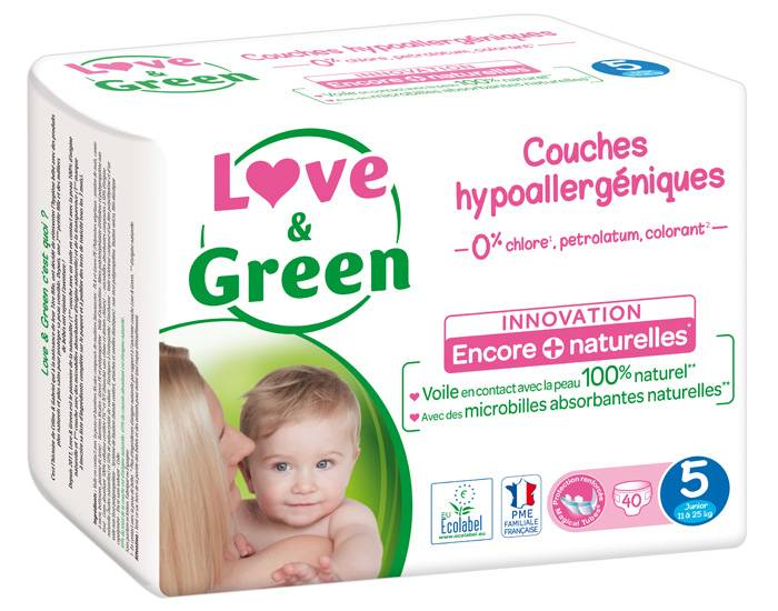 Love and Green Pack x3 Couches Écologiques 0% T5 / 11-25 Kg / 3 x 40 couches