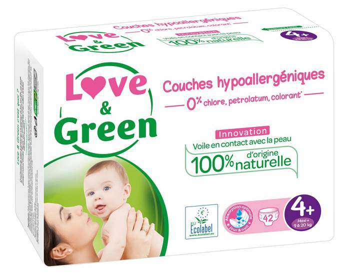 Love and Green Pack x6 Couches Écologiques 0% T4+ / 9-20 Kg / 6 x 42 couches