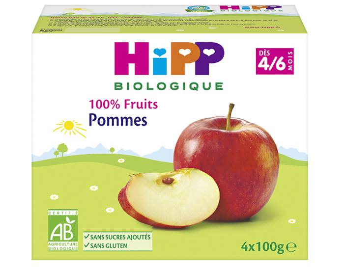 HIPP 100% Fruits - 4 x 100 g Pommes - 4M