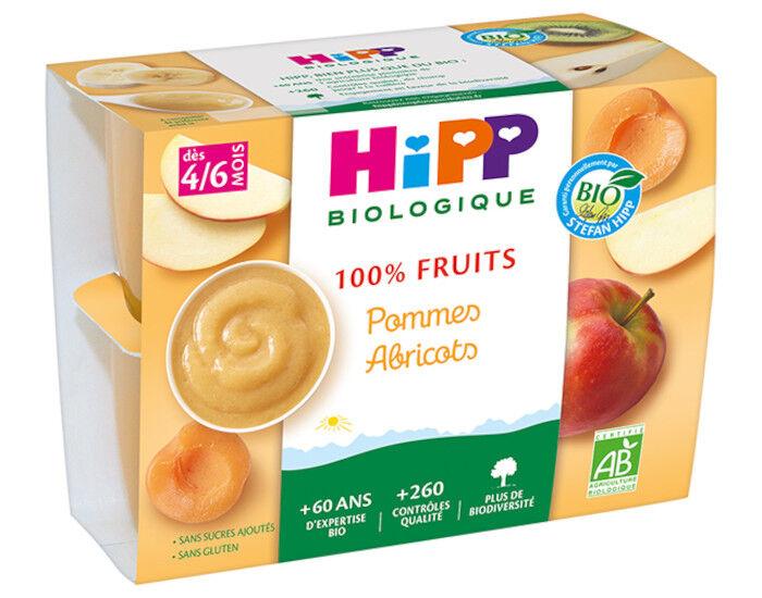 HIPP 100% Fruits - 4 x 100 g Pommes Abricots - AA - 4M