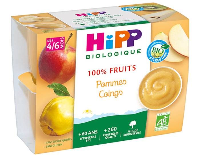 HIPP 100% Fruits - 4 x 100 g Pommes Coings - 4M