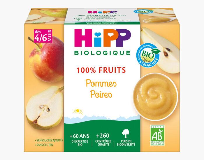 HIPP 100% Fruits - 4 x 100 g Pommes Poires - AA - 4M
