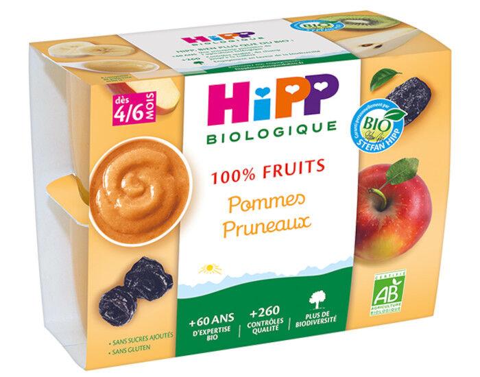 HIPP 100% Fruits - 4 x 100 g Pommes Pruneaux - 4M