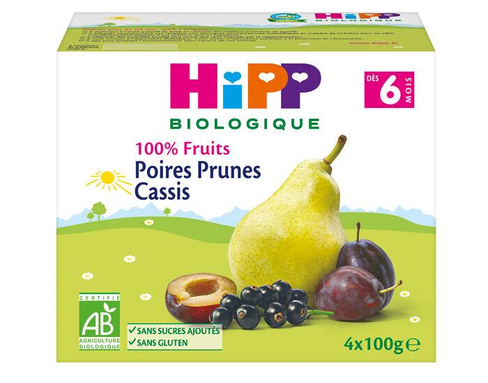 HIPP 100% Fruits - 4 x 100 g Poires Prunes Cassis - 6 M