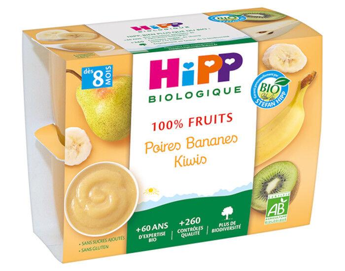 HIPP 100% Fruits - 4 x 100 g Poires Bananes Kiwis - 8 M