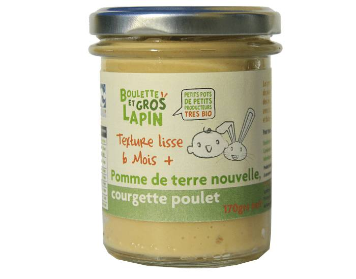 BOULETTE ET GROS LAPIN Petit Pot Pommes de Terre Nouvelles Courgette Poulet - Dès 6 mois - 170 g