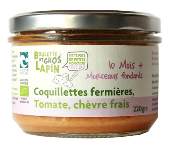 BOULETTE ET GROS LAPIN Petit Pot Coquillettes Fermières Tomate Chèvre Frais - Dès 10 mois - 220 g