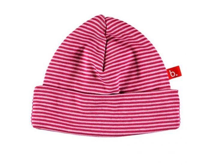 LIMOBASICS Bonnet de naissance en coton bio à rayures roses