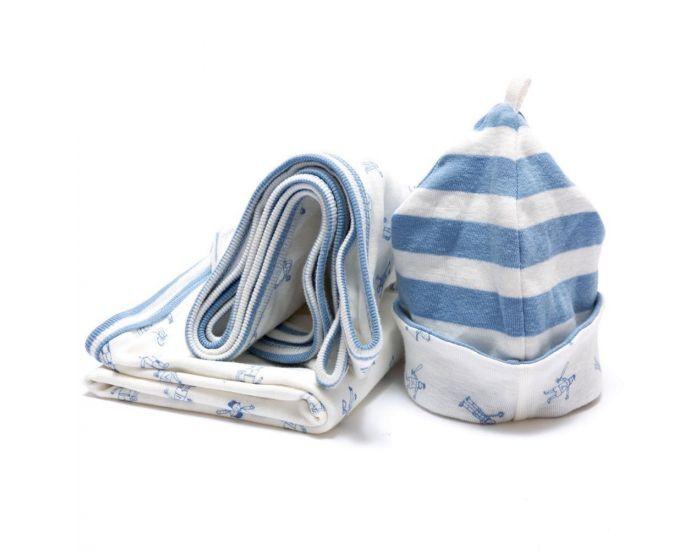 BEST YEARS Ensemble Bonnet et Couverture Bleu