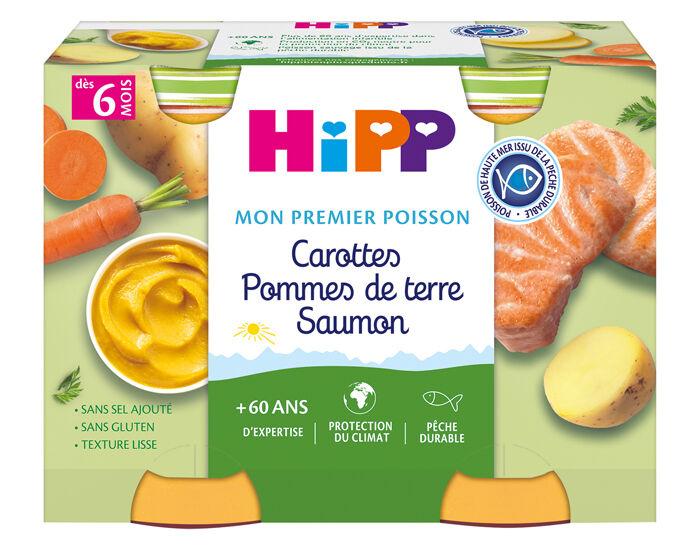 HIPP Mon premier Poisson - 2 x 190g Carotte - PDT - Saumon - 6M