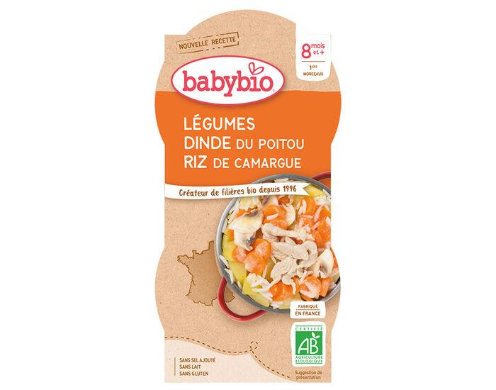 BABYBIO Bols Menu du Jour - 2 x 200 g Mijoté de Légumes Dinde Fermière du Poitou et Riz - 8 Mois