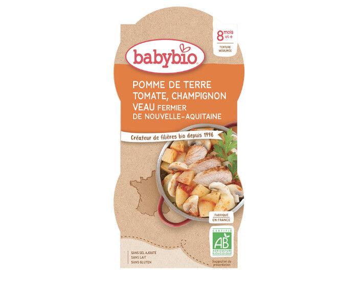 BABYBIO Bols Menu du Jour - 2 x 200 g Pomme de Terre Tomate Champignon Veau - 8 mois