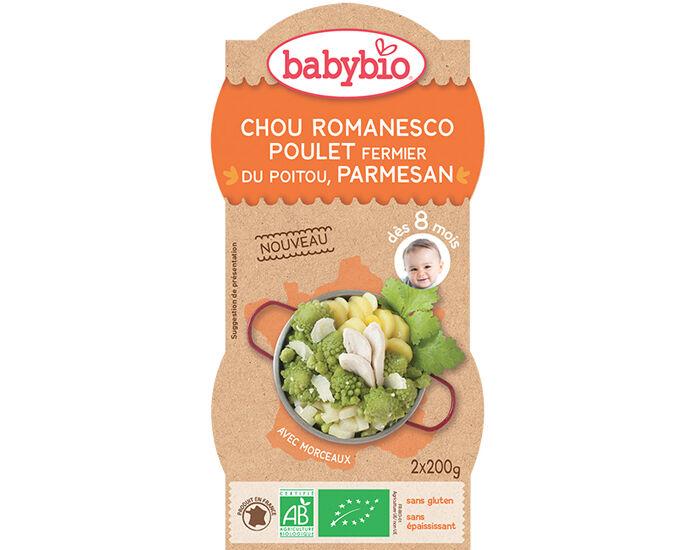 BABYBIO Bols Menu du Jour - 2 x 200 g Chou Romanesco Poulet Fermier Parmesan - 8 mois
