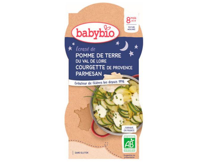 BABYBIO Bols Bonne Nuit - 2 x 200 g Écrasé de Pommes de Terre et Courgettes - 8 mois