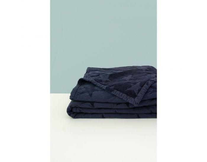 KADOLIS Couverture Star en Maille Chenille et Coton Bio Bleu Marine 75 x 100 cm