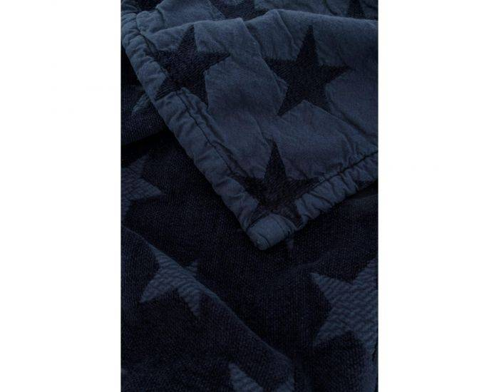 KADOLIS Couverture Star en Maille Chenille et Coton Bio Bleu Marine 180 x 200 cm