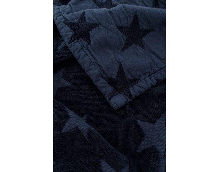 KADOLIS Couverture Star en Maille Chenille et Coton Bio Bleu Marine 130 x 180 cm