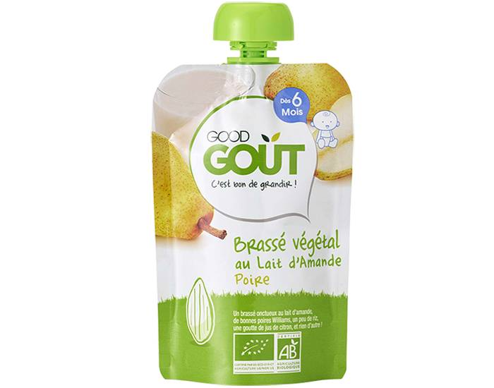 GOOD GOûT GOOD GOUT Pack 10 Gourdes Brassé Végétal - Dès 6 mois - 90 g Gourde Brassé Végétal Lait d'Amande Poire - 90g - 6m