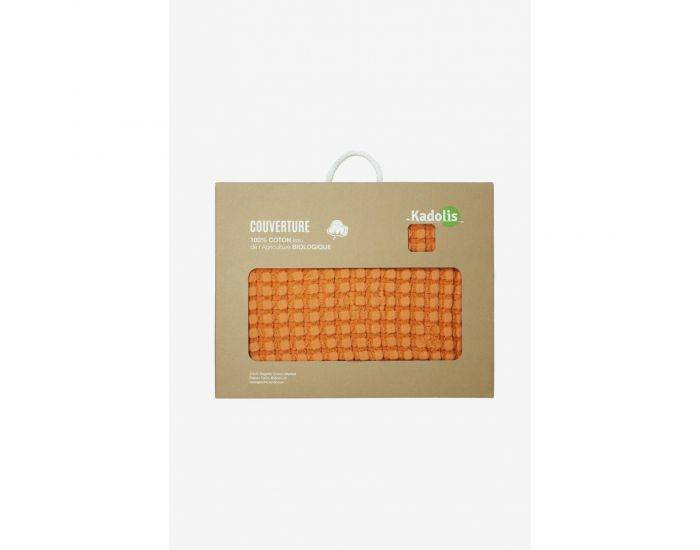 KADOLIS Couverture en Coton Bio - Paros Orange 100 x 140 cm