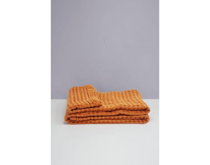 KADOLIS Couverture en Coton Bio - Paros Orange 130 x 180 cm