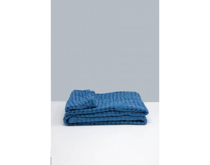 KADOLIS Grande couverture en Coton bio -  Paros Bleu 130 x 180 cm