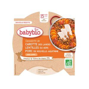 BABYBIO Mon p'tit Plat Assiette - 230 g ou 260 g Carotte Lentilles  Porc de Corrèze - Dès 15 M
