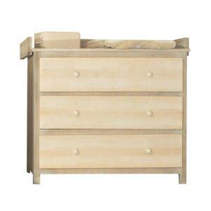 LA CABANE DE CALYS Commode 3 tiroirs + Plan à langer - Natur Wood Lin Brun et Lin sans Pochoirs