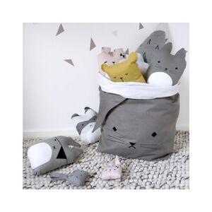 FABELAB Grand sac de rangement en coton bio Chat - Gris