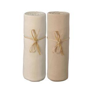 P'TIT BASILE Lot x2 Draps Housse Jersey Coton Bio 70x140 cm Ecru / Cappuccino